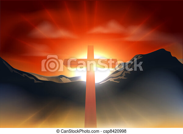 Christian Easter cross concept - csp8420998