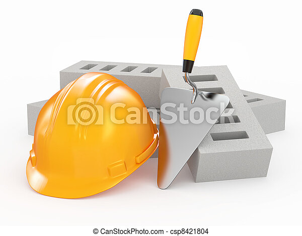 Bricks, hardhat and trowel. 3d - csp8421804