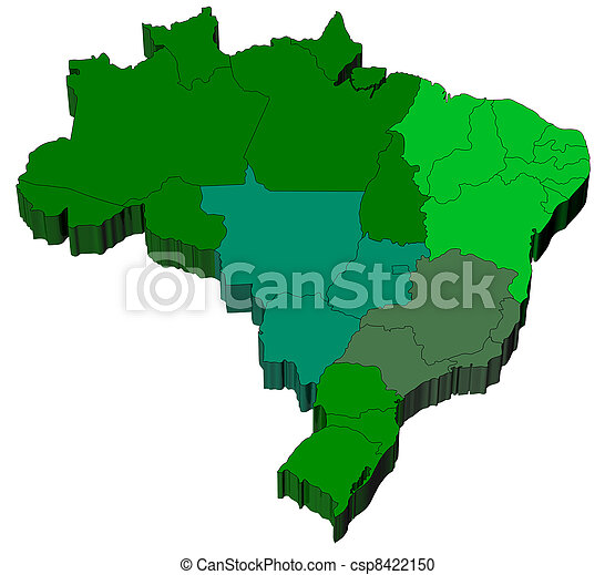 Map of Brazil with official regions divisions - csp8422150