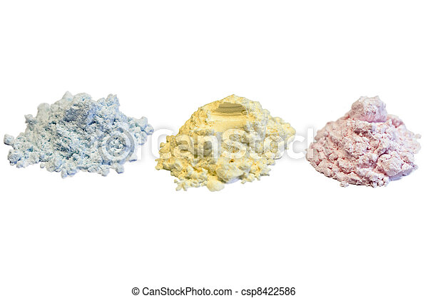 Colorful make-up powders isolated on white - csp8422586