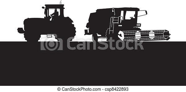combine and a tractor - csp8422893