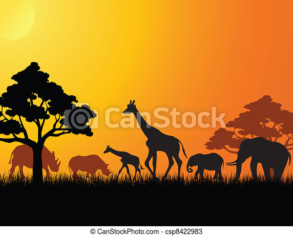 africa animal silhouette - csp8422983
