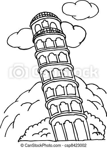 Kleurplaten Pyse Ilustra 231 227 O Vetorial De Imagem Pisa Torre Ilustra 231 227 O
