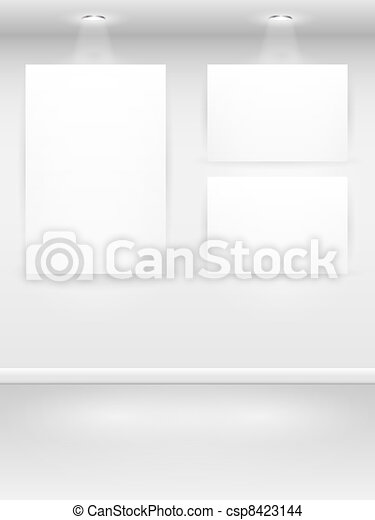 Gallery Interior with empty frames on wall. - csp8423144