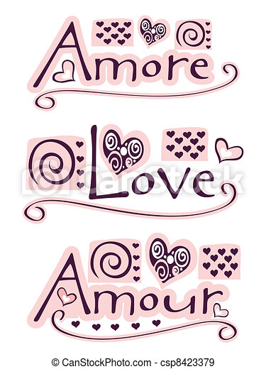 Stock illustration of amore love amour text amore - Clipart amour ...