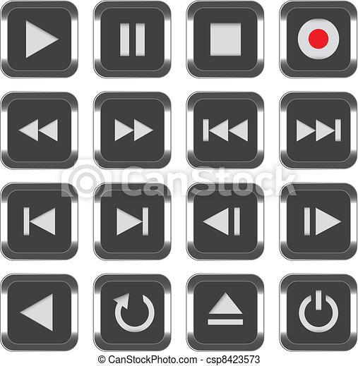 Multimedia control icon set - csp8423573