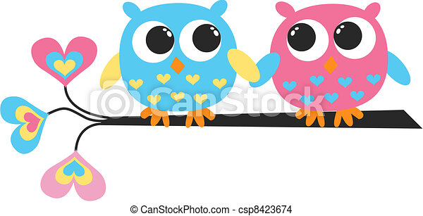 colorful owls - csp8423674