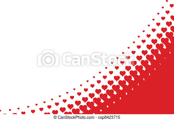 valentines heart halftone background in vector  - csp8423715