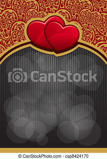 Valentine`s Day background with hearts  - csp8424170
