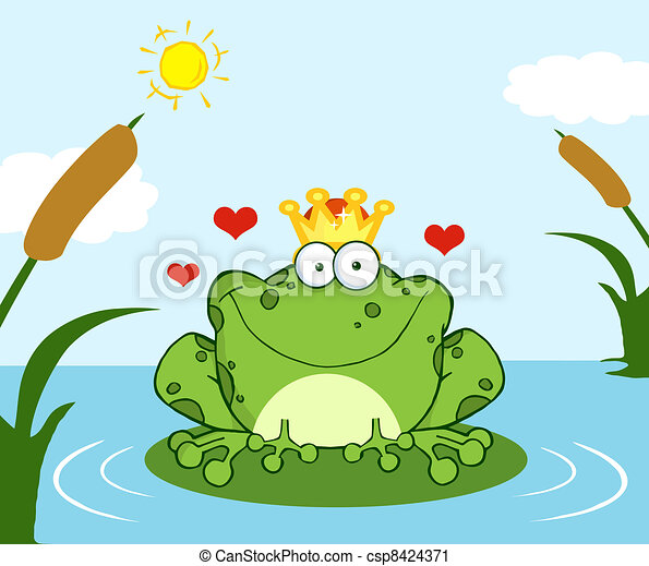 Frog Prince On A Leaf In Lake - csp8424371