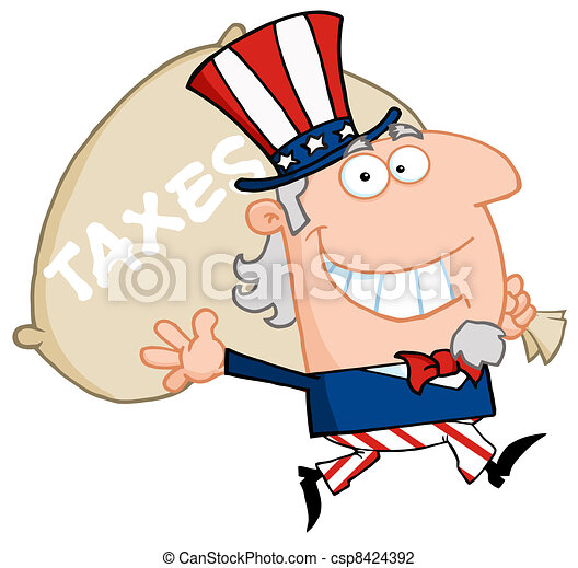 Uncle Sam Runs And Carries A Bag  - csp8424392