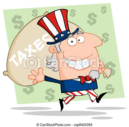 Uncle Sam Runs And Aarries A Bag - csp8424394