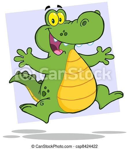 Happy Aligator Or Crocodile Jumping - csp8424422