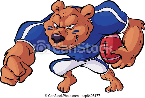 football bear in action - csp8425177