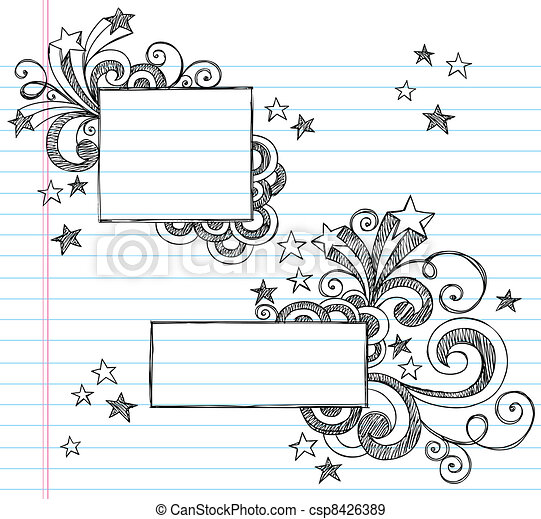 Square Sketchy Frames with Stars - csp8426389