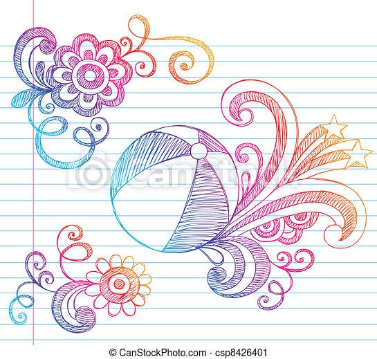 Beach Ball Sketchy Summer Doodle - csp8426401