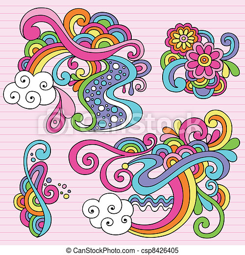 Abstract Psychedelic Doodles Vector - csp8426405