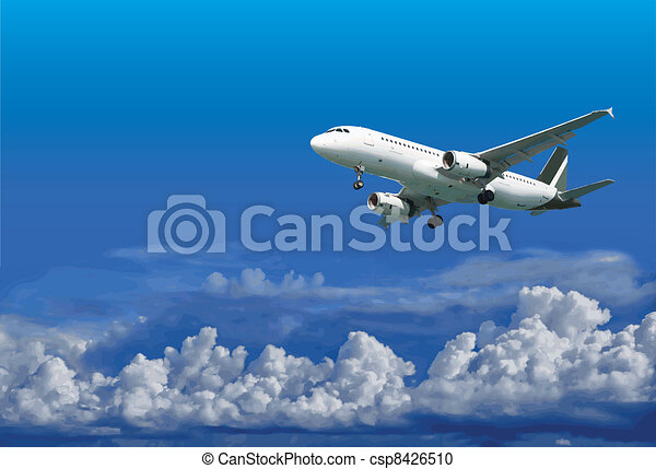 Airliner is landing on cloudy sky background - vector - csp8426510