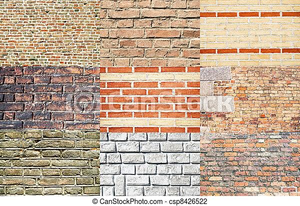 stock fotos de paredes conjunto vario ladrillo tipos conjunto de csp8426522 buscar. Black Bedroom Furniture Sets. Home Design Ideas