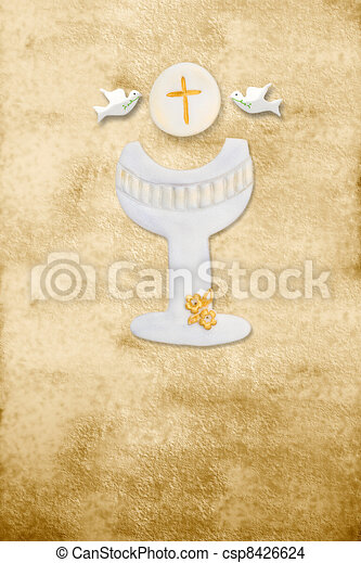 first communion card vertical parchment chalice - csp8426624