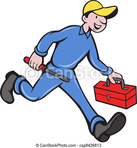 Electrician Mechanic With Screwdriver Toolbox - csp8426813