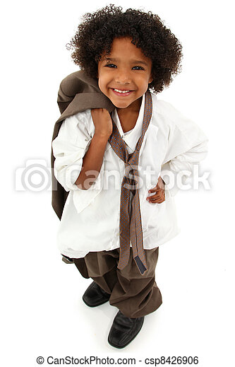 Adorable Preschool Black Girl Child Wearing Father's Suit - csp8426906