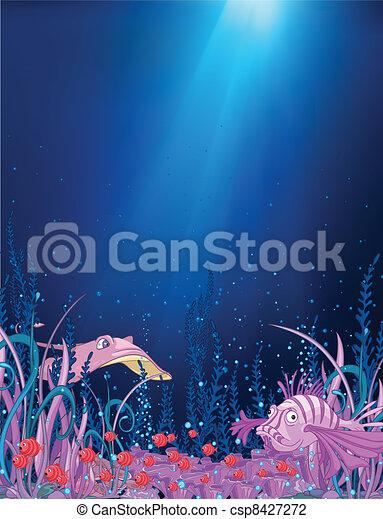 Ocean Underwater Cartoon - csp8427272