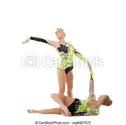 two young acrobats dance in free program - csp8427572