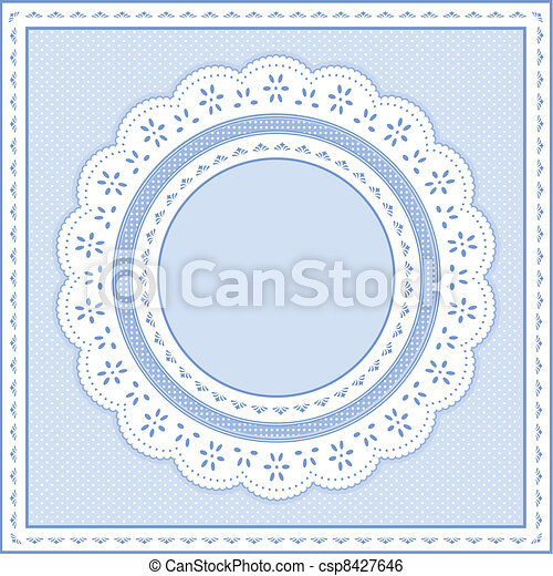 Eyelet Lace Frame, Pastel Blue - csp8427646