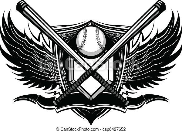 Baseball Softball Bats Ornate Graph - csp8427652
