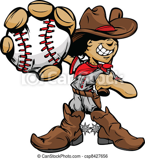 Cartoon Cowboy Kid Baseball Player - csp8427656