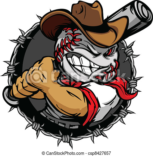 Cartoon Cowboy Baseball Face Holdin - csp8427657