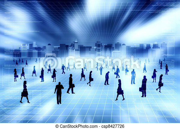 Virtual city with Virtual people - csp8427726