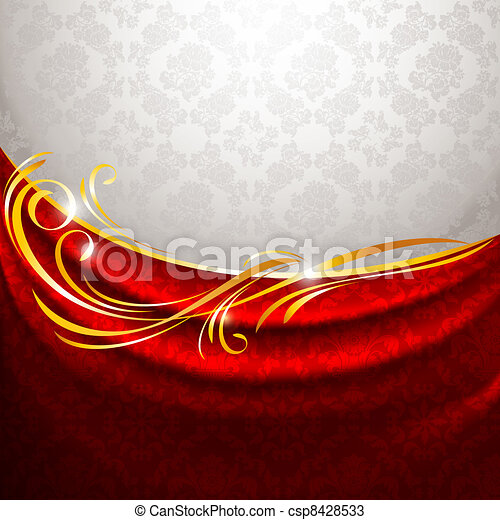 Red fabric drapes on gray background, vector - csp8428533