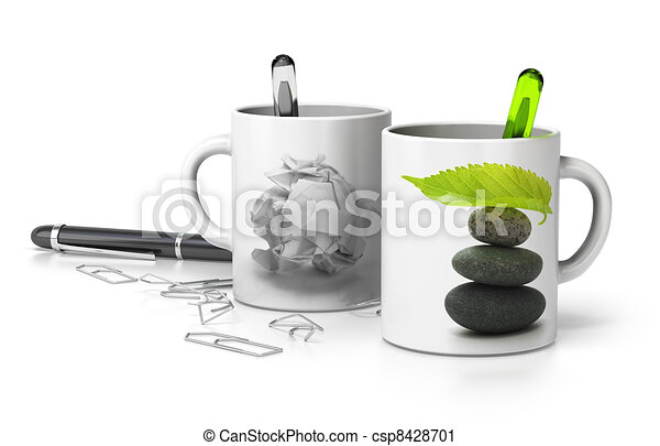 two mugs one withe a paper bullet and the second one with a pebble pile and a green leaf at the top, conceptual image symbol of stressed and serene executive. white background  - csp8428701