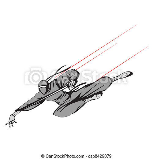 Ninja flying with Sword - csp8429079