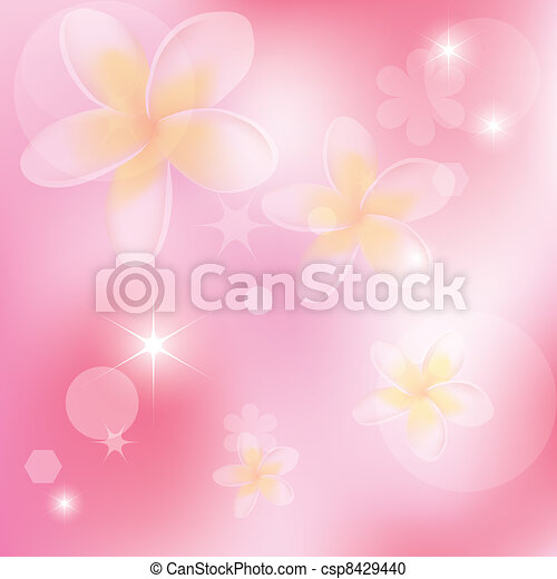 vector abstract pink background with flowers - csp8429440