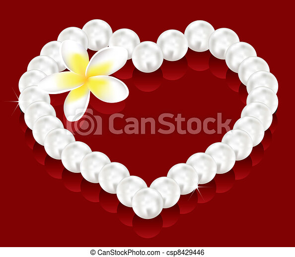 vector valentine's day gifts - pearl beads and a flower  - csp8429446
