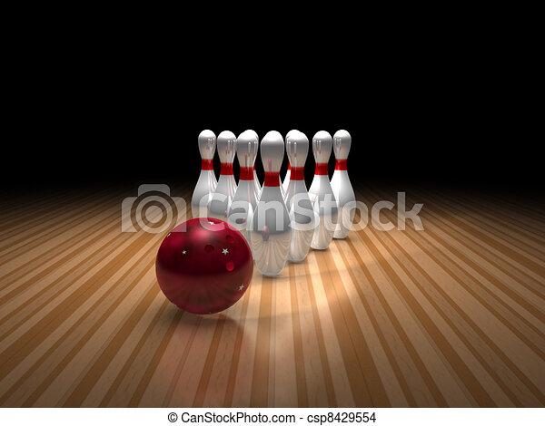 bowling ball and ten pins - csp8429554