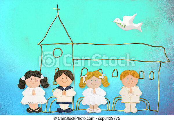child jolly card first communion, church and group of children - csp8429775