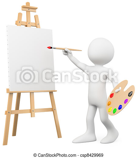 3D artist painting on a canvas on an easel - csp8429969