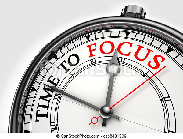 time to focus concept clock closeup - csp8431309