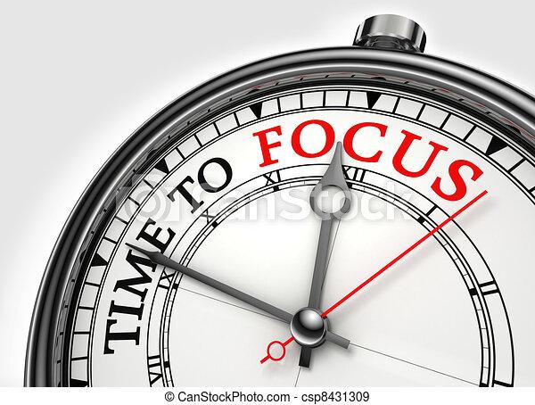 time to focus concept clock closeup - csp8431309
