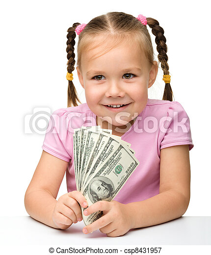 Cute little girl with paper money - dollars - csp8431957