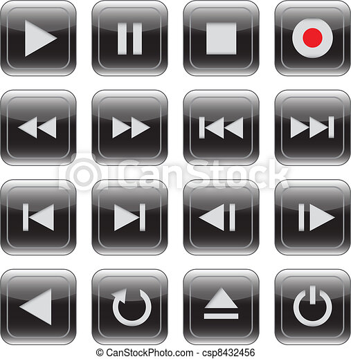 Multimedia control glossy icon set - csp8432456