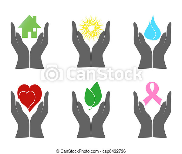 Vector illustration of a set of environment icons with human hands. - csp8432736