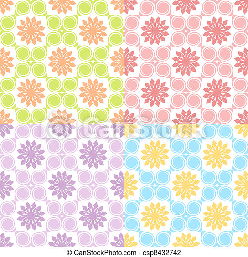 Vector illustration of a set of four seamless patterns.  - csp8432742