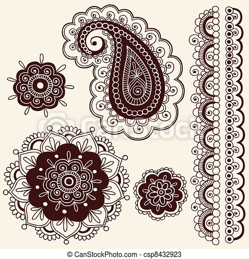 Henna Paisley Flower Doodles Vector - csp8432923