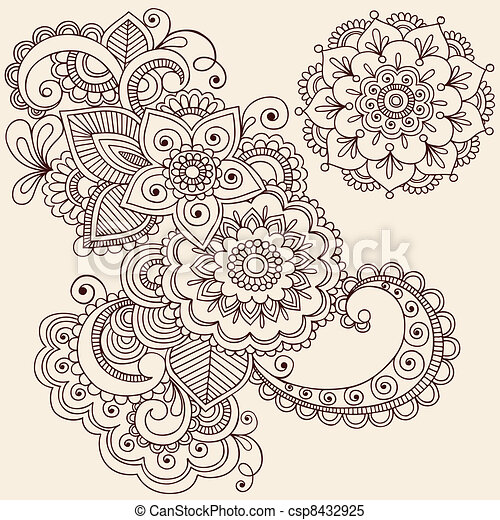 Henna Mehndi Tattoo Design Elements - csp8432925