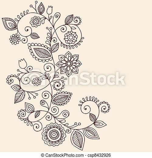 Vines Henna Tattoo Paisley Vector - csp8432926